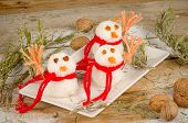 foto of christmas meal  - Funny rice snowmen a kid meal for Christmas - JPG