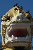 Face Of Singha Is White Lion Guardians In Temple,Myanmar.