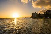 Sundown on the ocean, Waikiki