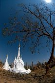 New White Pagodas In Ancient Temple,Myanmar.