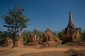 Row Of Pagodas In Buddhist Temple On The Border Of Inle Lake,Myanmar.