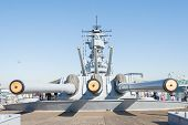 Mounted Artillery On Board Battleship Uss Iowa