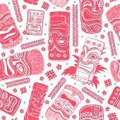 Vintage Aloha Tiki seamless pattern