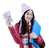 Cheerful Girl Holding Folder And Money