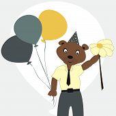 Cartoon bear in a tie a shirt with balloons
