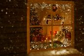 Christmas Window Holiday Home Lights, Room Decorated By Xmas Tree Candles Presents Gift, New Year