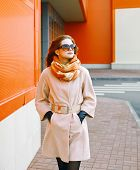 Pretty Woman In Coat In The City, Street Fashion