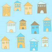 Flat Cute Houses In Vintage Style