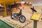 Ducati Scrambler Motorbike At Eicma 2014 In Milan, Italy