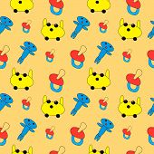 Repeating seamless pattern from the drawn multi-colored toys.