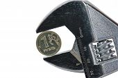 Ruble Coin Held In Adjustable Wrench