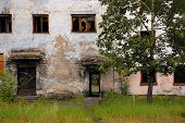 Abandoned Building Entrance Outback Of Russia