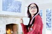 Attractive Girl In Warm Clothes With Hot Drink