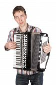 Man Playing An Accordion Isolated Over White