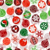 Seamless Christmas pattern with simple contour balls.