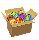 Cardboard box full of Christmas balls isolated. Vector illustration