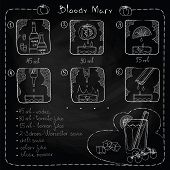 foto of bloody  - Hand drawn illustration of cocktail imitation of chalk - JPG