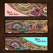 Set of abstract doodle tribal vector cards.