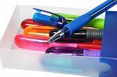 Colored ball-pen in plastic box