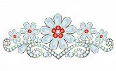 stock photo of tiara  - Tiara with diamonds and rubies on white background - JPG