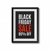 Picture frame isolated on white background. Black friday sale banner