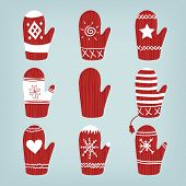 Set Of Christmas Mittens