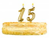 Birthday Cake Candles Number Fifteen Isolated