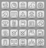 25 School And College Buttons With Icons. Vector Illustration