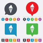 Vector Ice Cream sign icon. Sweet symbol.