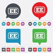 Vector Estonian language sign icon. EE translation.