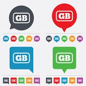 Vector British language sign icon. GB translation.