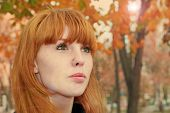 Pretty Red Hair Girl Face With Freckles Against Red Autumn Foliage.