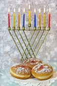Hanukkah Menorah And Traditional Doughnuts