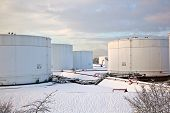 White Tanks In Tank Farm With Snow In Winter
