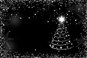 Christmas Black And White Background With Snowflakes Frame And Christmas Tree