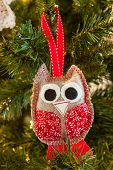 knitted owl Christmas decoration