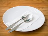 Empty Plate With Spoon And Fork