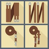 set of horse gear in flat style 3