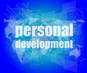 Word Personal Development On Digital Screen 3D