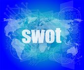 Swot Word On Touch Screen, Modern Virtual Technology Background