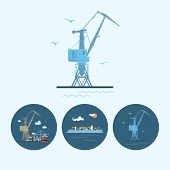 Set Icons With  Crane, Cargo Containership , The Crane With Containers In Dock, Vector Illustration