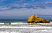 A Rock In The Atlantic Ocean Near Biarritz, France