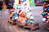 Vintage Christmas decoration with soft toys