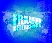 Management Concept: Fraud Deterrence Words On Digital Screen