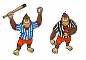 Cartoon gorilla playing baseball and rugby