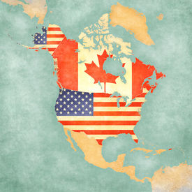 picture of usa map  - USA and Canada on the outline map of North America - JPG