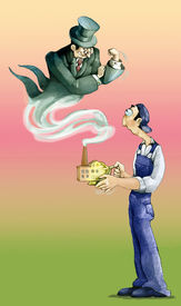image of aladdin  - a worker rubs a lamp of Aladdin and the result is a businessman who makes fun of him - JPG