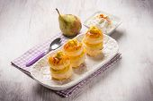 foto of french pastry  - french pastry with pear and ricotta - JPG