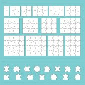 image of jigsaw  - Vector parts of paper jigsaw puzzle set - JPG