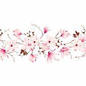 stock photo of japanese magnolia  - Magnolia and cotton garland seamless horizontal vector banner - JPG